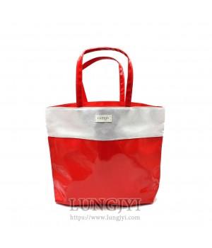 紅銀雙色托特包